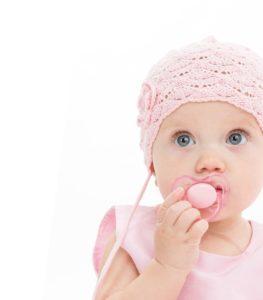 little child baby girl portrait 1 year pink dress hat baby's dum